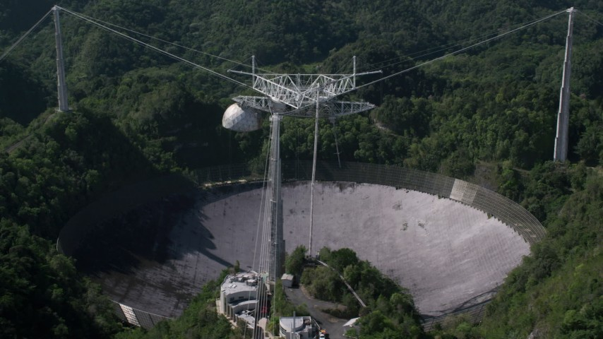5k stock footage aerial video of Arecibo Observatory in lush green Karst forest, Puerto Rico Aerial Stock Footage | AX101_093