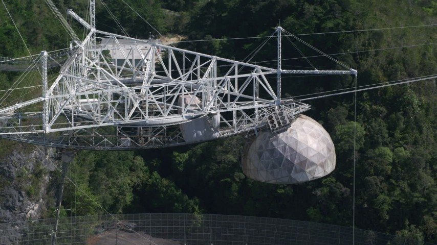 5k stock footage aerial video Flying along the top of Arecibo Observatory, Puerto Rico  Aerial Stock Footage | AX101_099