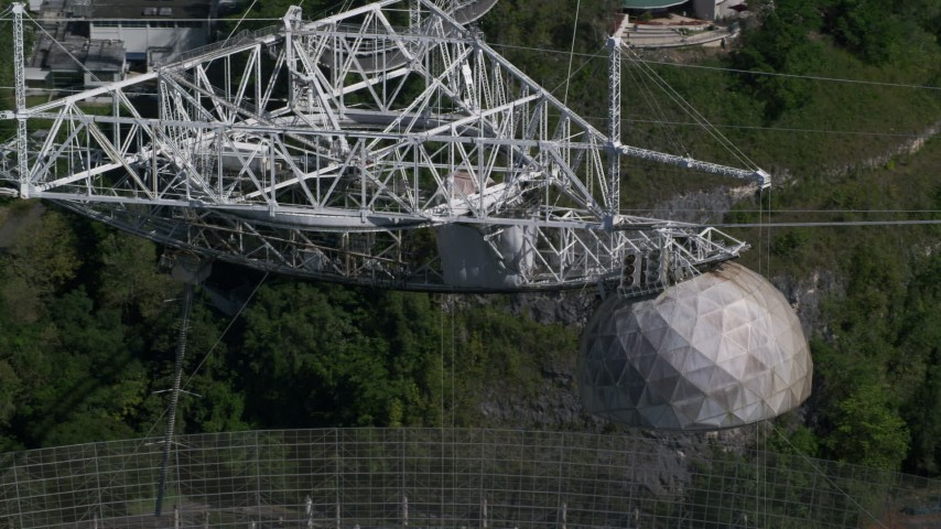 5k stock footage aerial video Orbiting the tope of Arecibo Observatory, Puerto Rico  Aerial Stock Footage | AX101_100