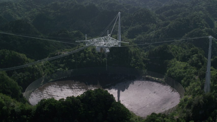 5k stock footage aerial video of Arecibo Observatory and Karst forest, Puerto Rico  Aerial Stock Footage | AX101_107