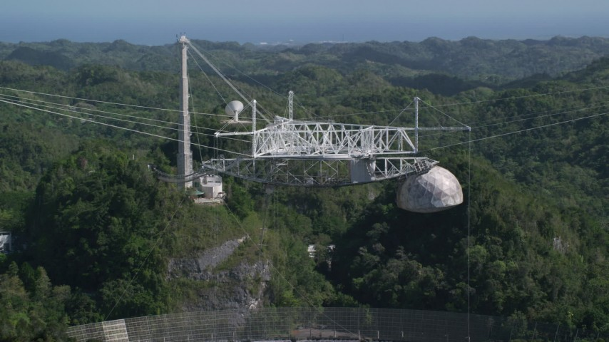 5k stock footage aerial video of Arecibo Observatory and lush green trees, Puerto Rico  Aerial Stock Footage | AX101_113