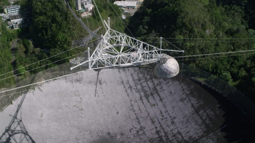 5k stock footage aerial video Ascending above Arecibo Observatory , Puerto Rico Aerial Stock Footage | AX101_118