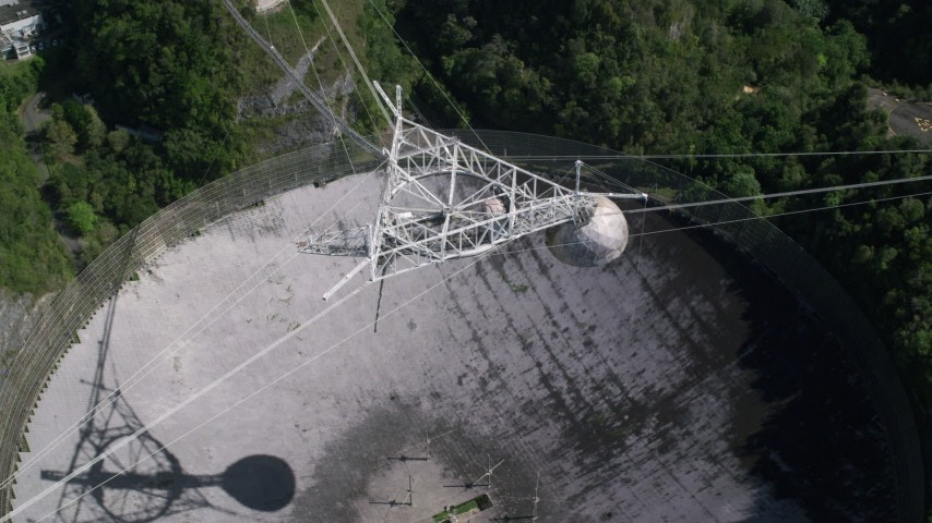 5k stock footage aerial video Ascending above Arecibo Observatory, Puerto Rico  Aerial Stock Footage | AX101_119