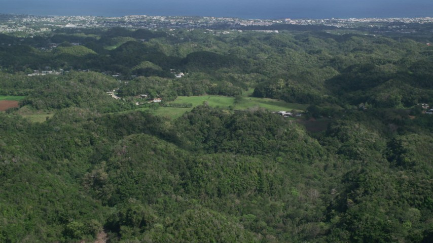 5k stock footage aerial video Flying over tree covered hills toward the coast, Arecibo, Puerto Rico  Aerial Stock Footage | AX101_128