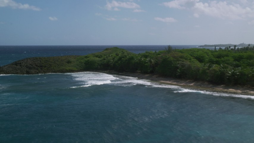 5k stock footage aerial video of a Tree lined coast and blue Caribbean water, Arecibo, Puerto Rico  Aerial Stock Footage | AX101_154