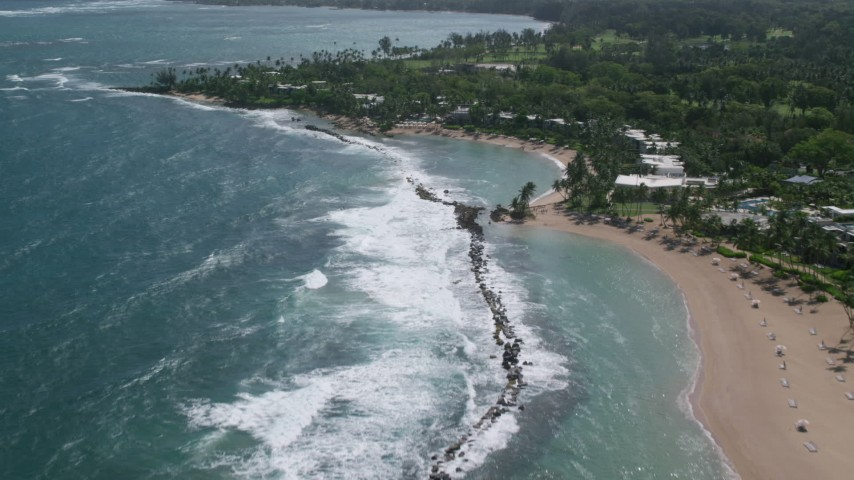 5k stock footage aerial video of a Beach and private resort along pristine blue waters, Dorado, Puerto Rico  Aerial Stock Footage AX101_214 | Axiom Images