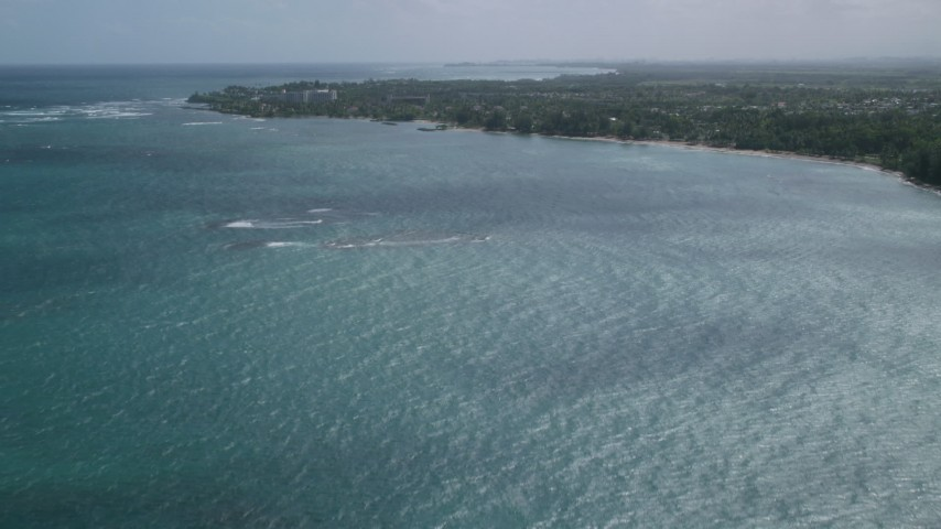5k stock footage aerial video Approaching coastal community from pristine blue waters, Dorado, Puerto Rico Aerial Stock Footage | AX101_216