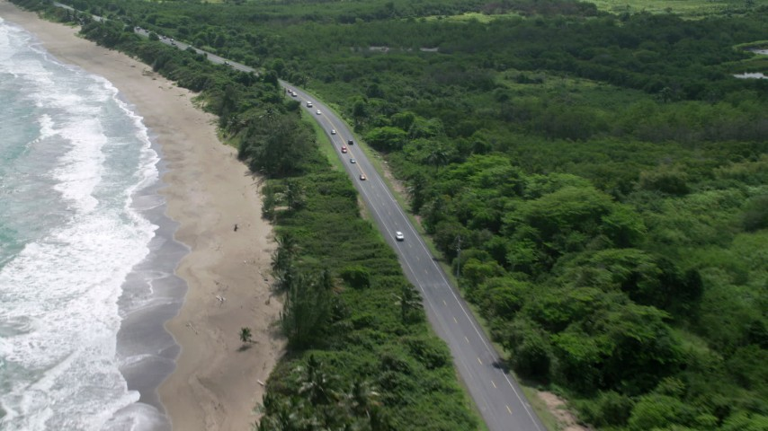 5k stock footage aerial video of a Coastal highway and beach, Dorado, Puerto Rico  Aerial Stock Footage | AX101_222