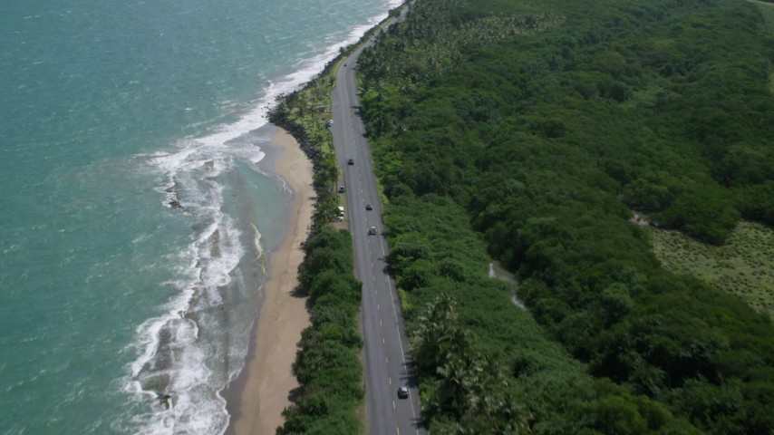 5k stock footage aerial video of a Highway along the coast of crystal blue waters, Dorado, Puerto Rico  Aerial Stock Footage | AX101_226