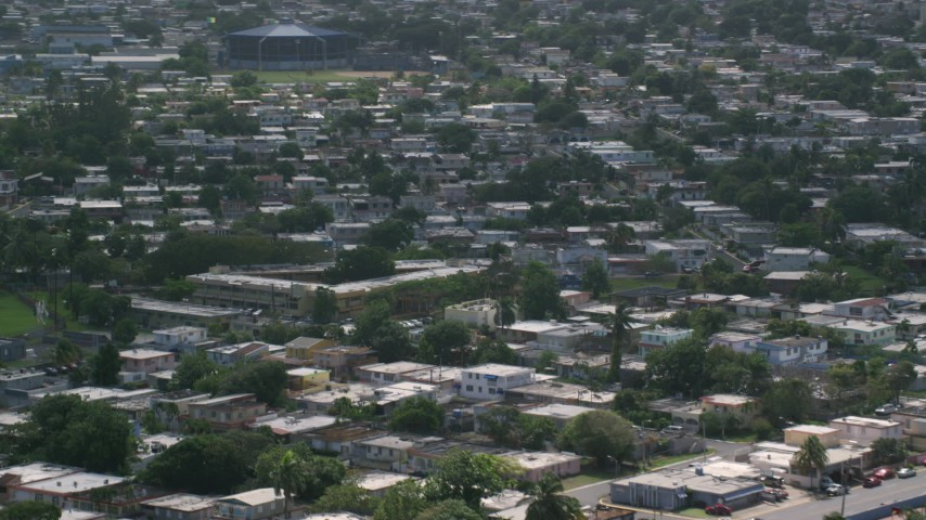 5k stock footage aerial video of Neighborhood houses, Toa Baja, Puerto Rico  Aerial Stock Footage | AX101_229