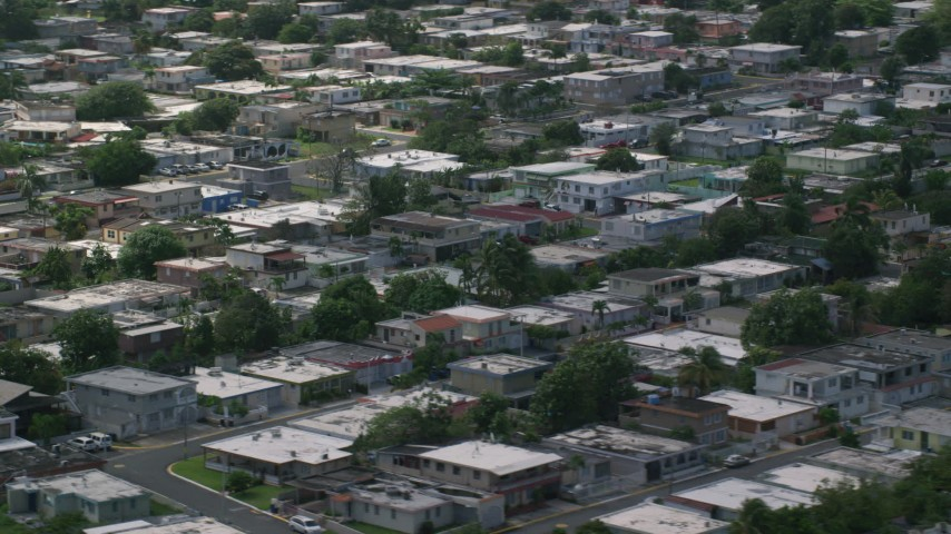 5k stock footage aerial video of Residential houses, Toa Baja, Puerto Rico  Aerial Stock Footage | AX101_230