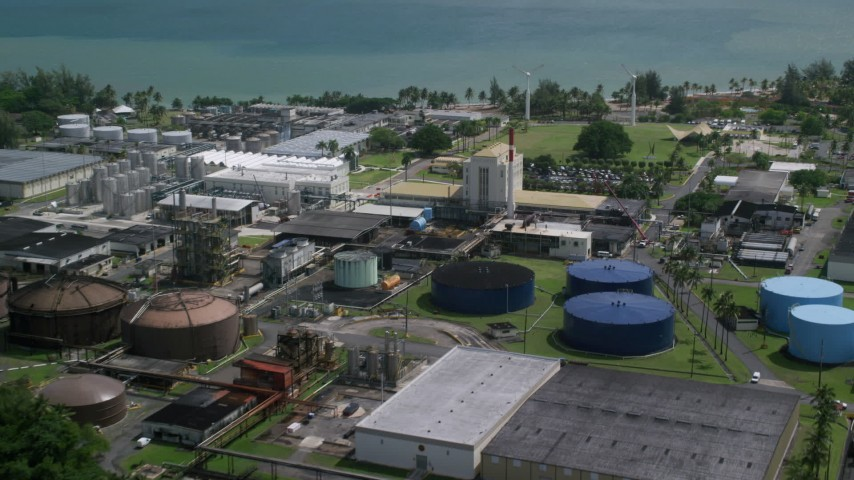 5k stock footage aerial video of a Bacardi Rum Factory, Cataño Puerto Rico Aerial Stock Footage | AX101_233