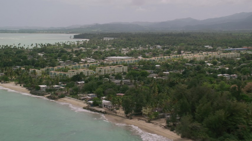 5k stock footage aerial video of Vacation rentals along the coast, Loiza, Puerto Rico Aerial Stock Footage | AX102_036