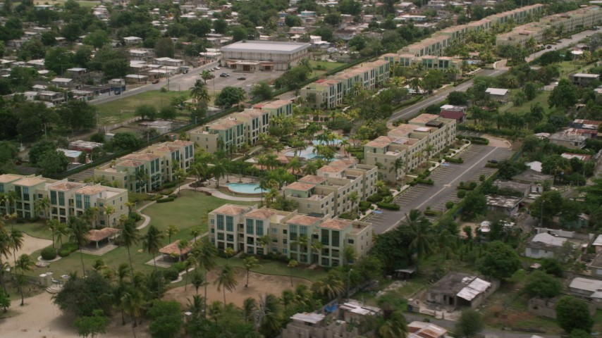 5k stock footage aerial video Flying by vacation rentals, Loiza, Puerto Rico  Aerial Stock Footage | AX102_037