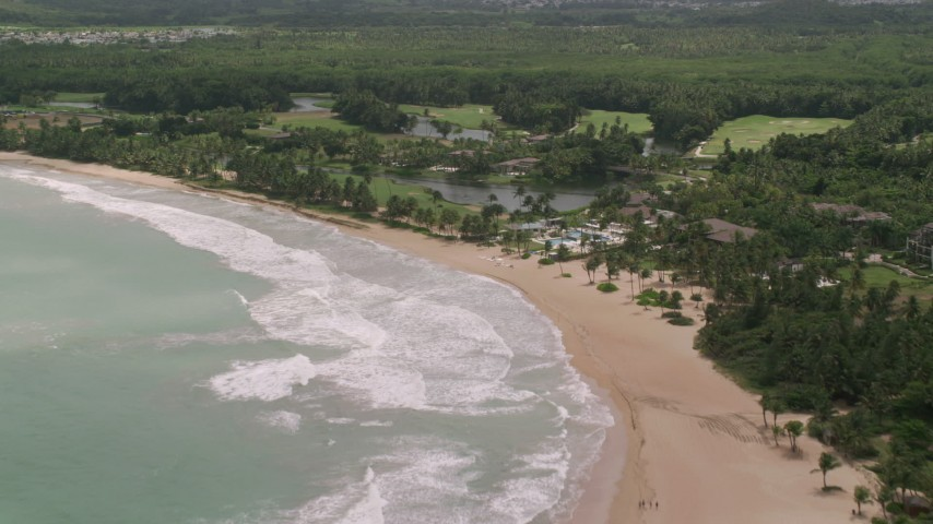 5k stock footage aerial video of a Beachside resort, St. Regis, Rio Grande, Puerto Rico  Aerial Stock Footage | AX102_040
