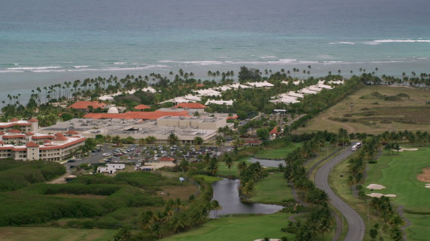 5k stock footage aerial video of an Oceanfront Gran Melia Golf Resort, Puerto Rico Aerial Stock Footage | AX102_043