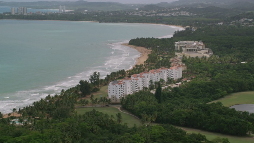 5k stock footage aerial video of Wyndham Grand Rio Mar Beach Resort and Spa, Rio Grande, Puerto Rico  Aerial Stock Footage AX102_046 | Axiom Images