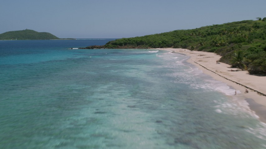 5k aerial video Flying low over turquoise waters along the beach and palm trees, Culebra, Puerto Rico Aerial Stock Footage | AX102_132