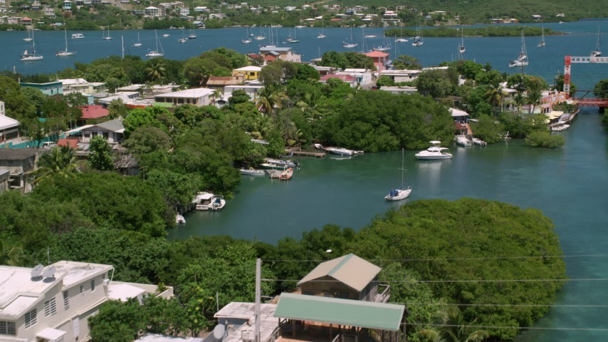 5k stock footage aerial video of a Coastal town on sapphire water, Culebra, Puerto Rico  Aerial Stock Footage | AX102_151