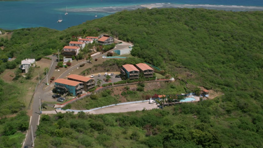 5k aerial video of The Villas at Bahia Marina, Culebra, Puerto Rico Aerial Stock Footage AX102_158