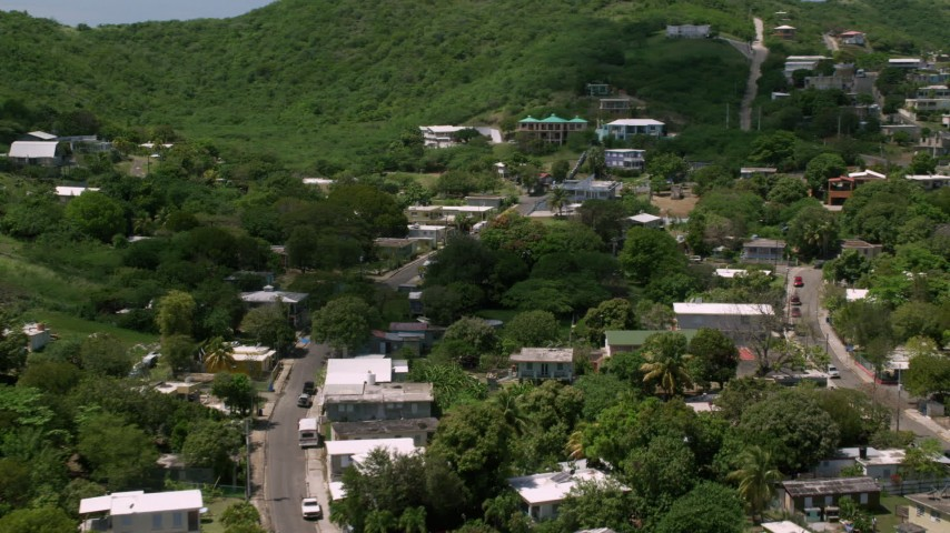 5k stock footage aerial video of a Residential neighborhood nestled in trees, Culebra, Puerto Rico Aerial Stock Footage | AX102_164