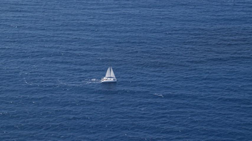 5k stock footage aerial video of a Catamaran on sapphire blue waters, Atlantic Ocean Aerial Stock Footage | AX102_193