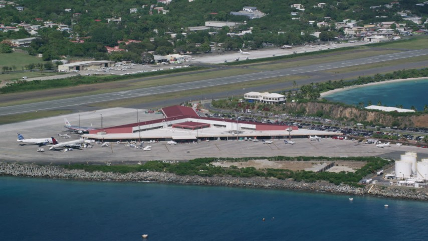 5k stock footage aerial video of the Main terminal at Cyril E King Airport, St. Thomas  Aerial Stock Footage AX102_196