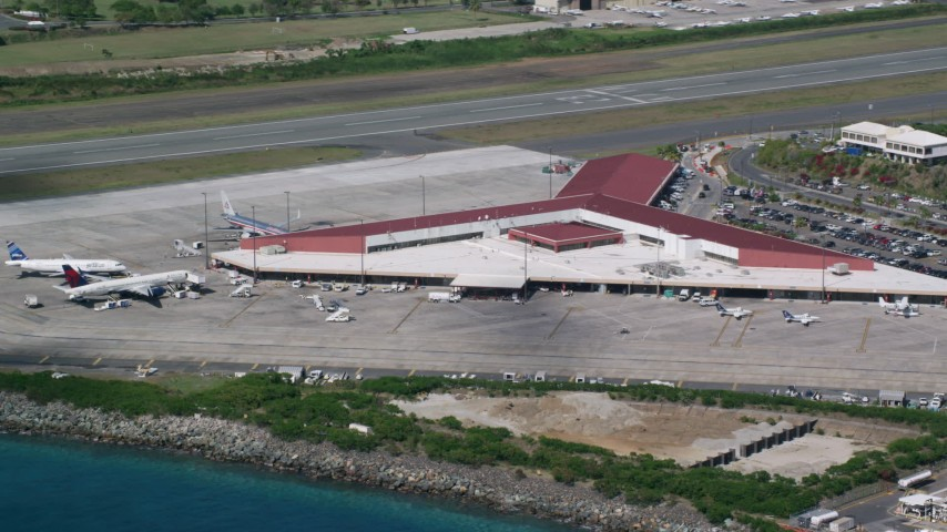 5k stock footage aerial video of the Main terminal at Cyril E King Airport, St. Thomas  Aerial Stock Footage | AX102_197