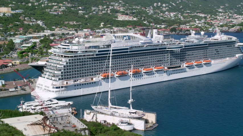 5k stock footage aerial video of a Docked cruise ships in a coastal town, Charlotte Amalie, St. Thomas  Aerial Stock Footage | AX102_203