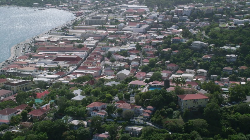 5k stock footage aerial video of a Coastal town and Blackbeard's Castle, Charlotte Amalie  Aerial Stock Footage | AX102_216