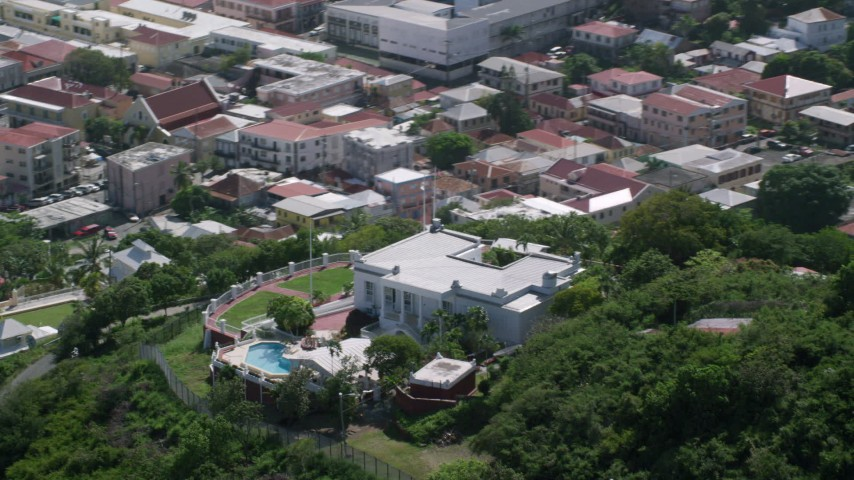 5k aerial video Orbiting the Governor's Mansion, Charlotte Amalie  Aerial Stock Footage | AX102_217