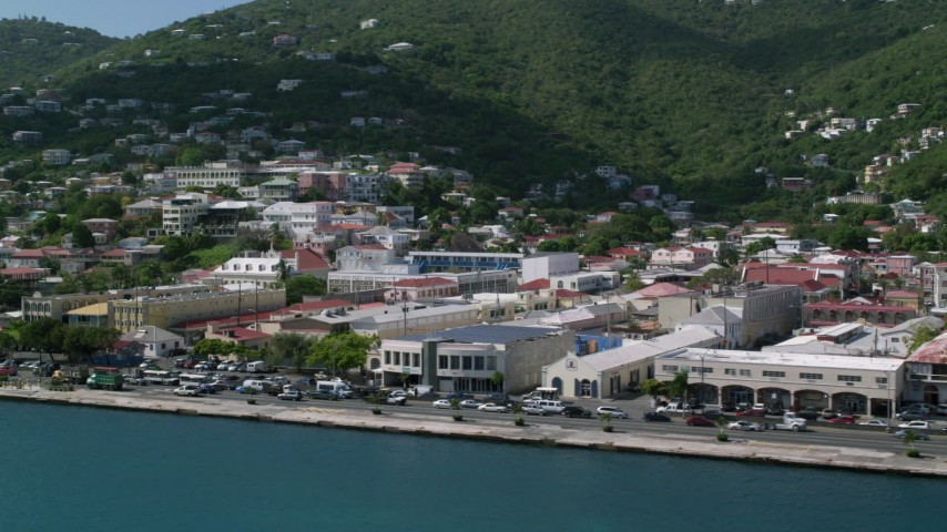 5k stock footage aerial video of Coastal buildings and hillside homes, Charlotte Amalie, St Thomas  Aerial Stock Footage | AX102_227