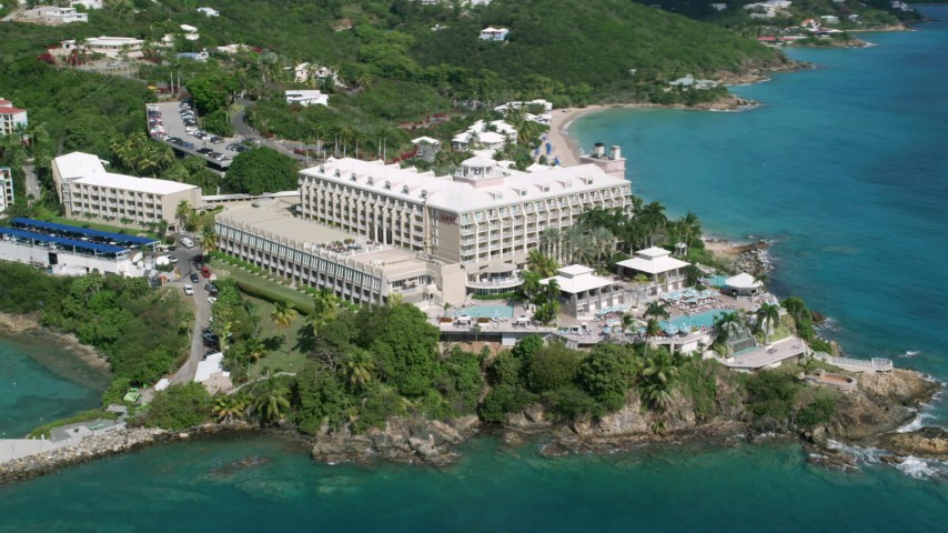 5k stock footage aerial video of Marriott's Frenchman's Cove, St Thomas  Aerial Stock Footage | AX102_233