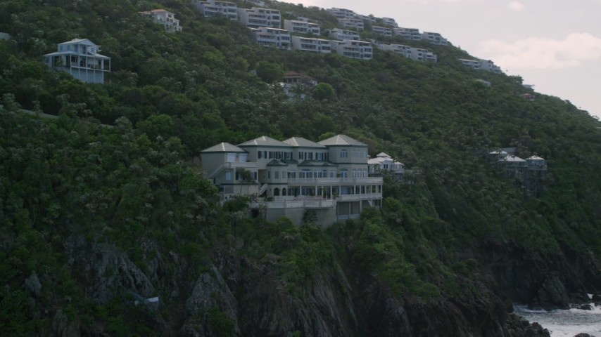 5k stock footage aerial video of a Hillside oceanfront mansion with a pool, Northside, St Thomas  Aerial Stock Footage | AX102_264