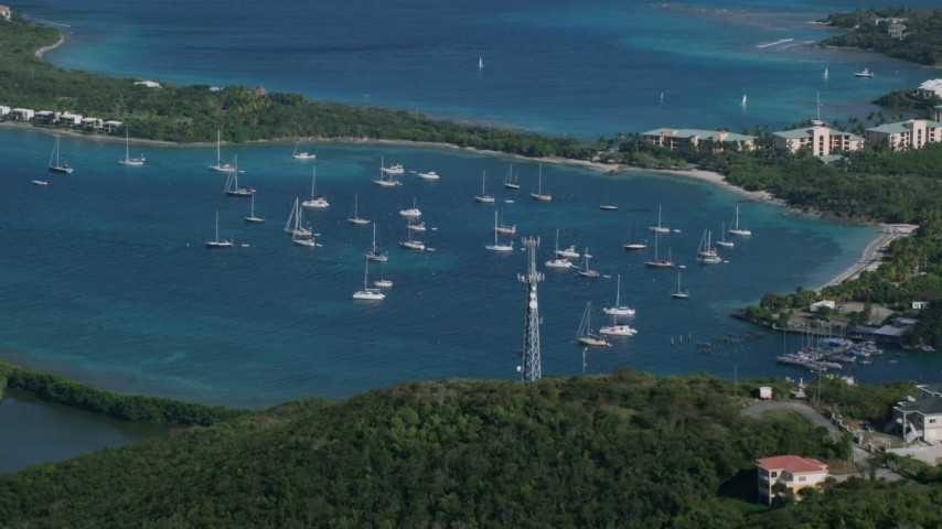 5k stock footage aerial video of Sailboats in Caribbean blue waters, Muller Bay, St Thomas Aerial Stock Footage | AX103_014