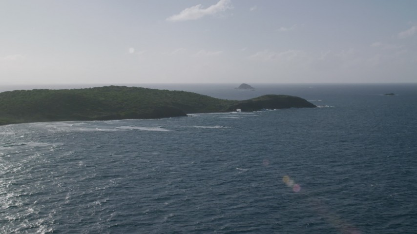 5k stock footage aerial video of the Island's coast along Caribbean blue waters, Culebra, Puerto Rico Aerial Stock Footage | AX103_099
