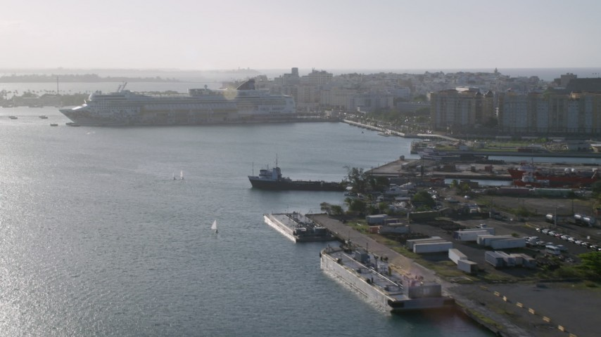 5k stock footage aerial video of a Docked cruise ship in Port of San Juan, Puerto Rico Aerial Stock Footage | AX103_153