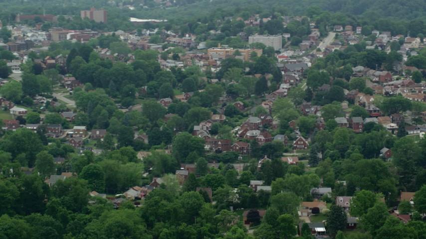 5K stock footage aerial video orbiting suburban neighborhood, Munhall, Pennsylvania Aerial Stock Footage | AX105_023