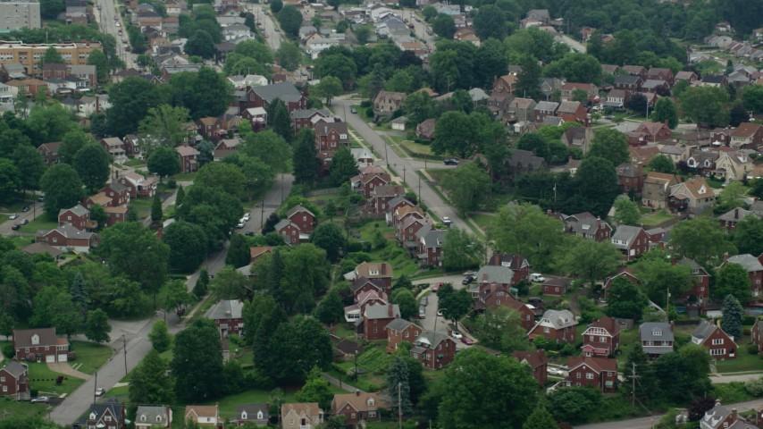 5K stock footage aerial video orbiting suburban neighborhood, Munhall, Pennsylvania Aerial Stock Footage | AX105_024