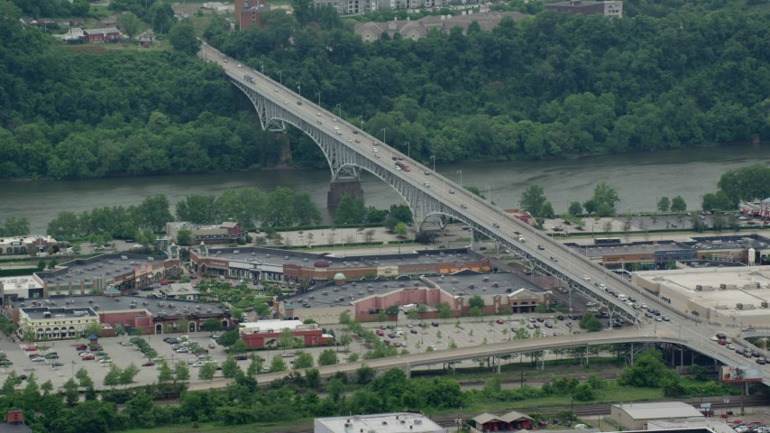 5K stock footage aerial video of Homestead Grays Bridge and Shopping Mall, Pittsburgh, Pennsylvania Aerial Stock Footage | AX105_027