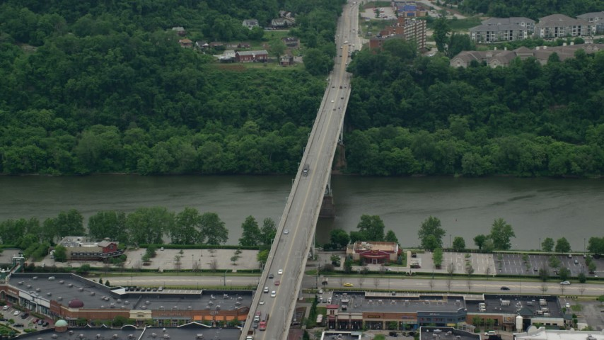 5K stock footage aerial video orbiting Homestead Grays Bridge, Pittsburgh, Pennsylvania Aerial Stock Footage | AX105_028