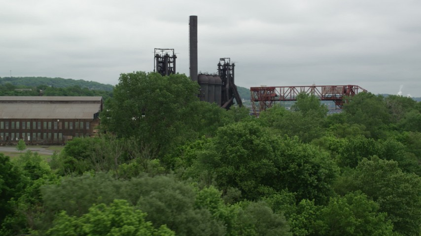 5K stock footage aerial video of a historic steel plant, Carrie Furnace, Pittsburgh, Pennsylvania Aerial Stock Footage | AX105_036