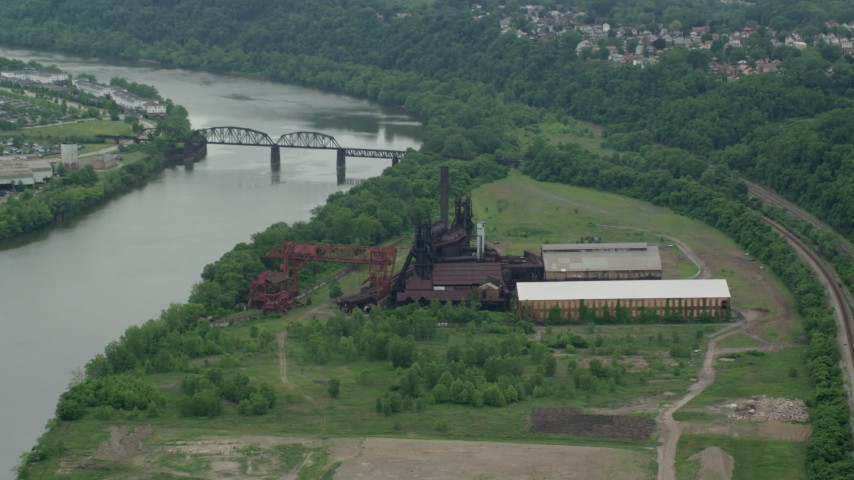 5K stock footage aerial video approaching Carrie Furnace Steel Factory, Pittsburgh, Pennsylvania Aerial Stock Footage | AX105_071