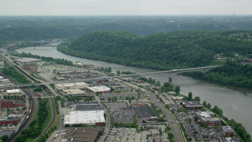 5K stock footage aerial video of a shopping mall and Homestead Grays Bridge, Pittsburgh, Pennsylvania Aerial Stock Footage | AX105_073