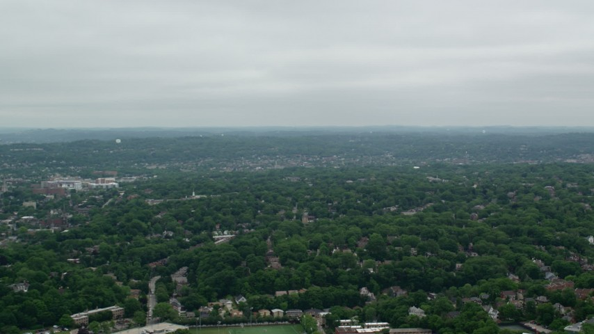 5K stock footage aerial video panning right across trees and suburbs, Pittsburgh, Pennsylvania Aerial Stock Footage   AX105_078