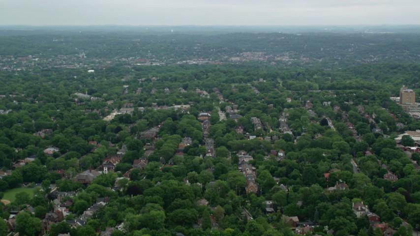 5K stock footage aerial video flying over suburban neighborhoods, Pittsburgh, Pennsylvania Aerial Stock Footage | AX105_080