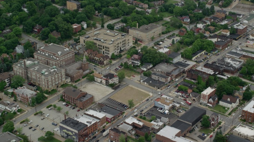 5K stock footage aerial video approaching a small hospital, Pittsburgh, Pennsylvania Aerial Stock Footage | AX105_085