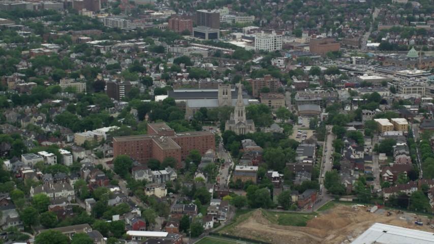 5K stock footage aerial video orbiting Episcopal Church, Pittsburgh, Pennsylvania Aerial Stock Footage | AX105_103