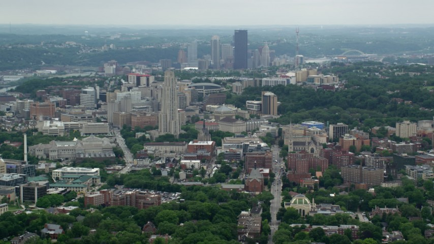 5K aerial video approaching University of Pittsburgh, Pennsylvania Aerial Stock Footage | AX105_104