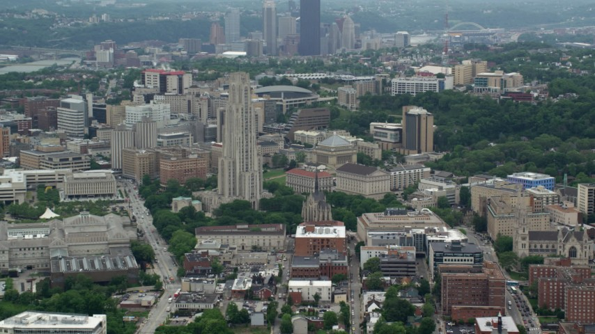 5K stock footage aerial video of Cathedral of Learning, University of Pittsburgh, Pennsylvania Aerial Stock Footage | AX105_105